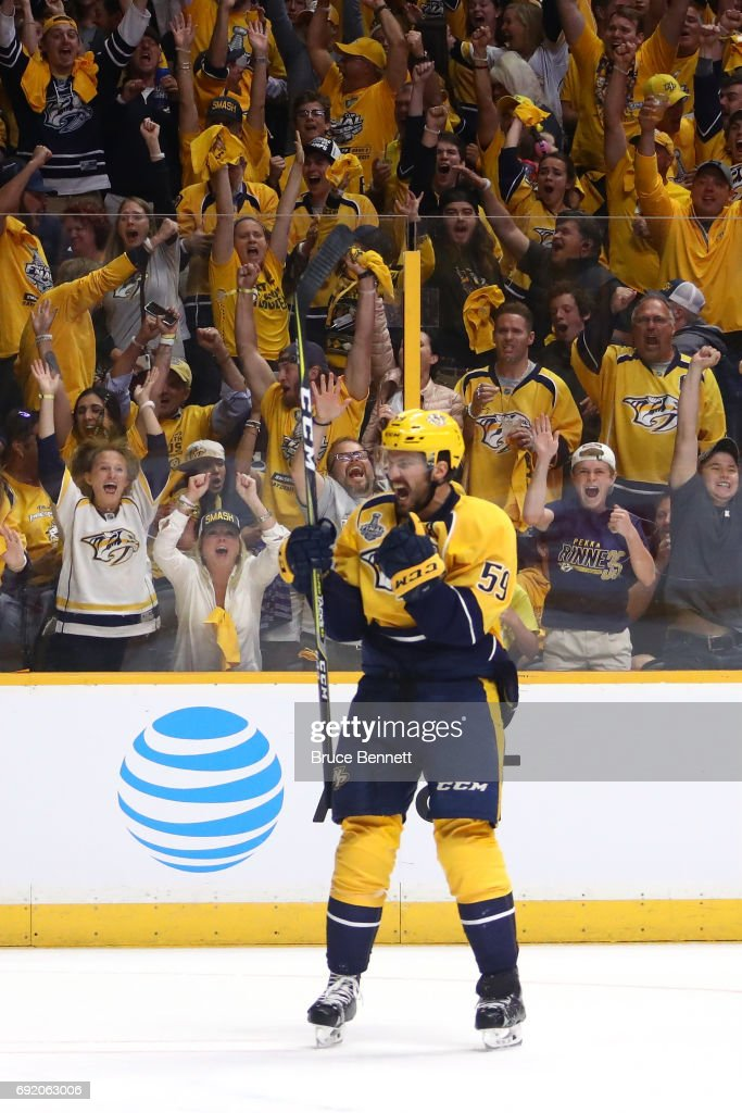 Roman Josi #59 of the Nashville Predators celebrates his goal at 4:51 of the second period against the Pittsburgh Penguins in Game Three of the 2017 NHL Stanley Cup Final at the Bridgestone Arena on June 3, 2017 in Nashville, Tennessee.