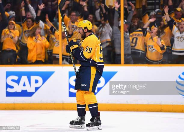 Roman Josi of the Nashville Predators celebrates his goal during the second period of Game Three of the 2017 NHL Stanley Cup Final against the...