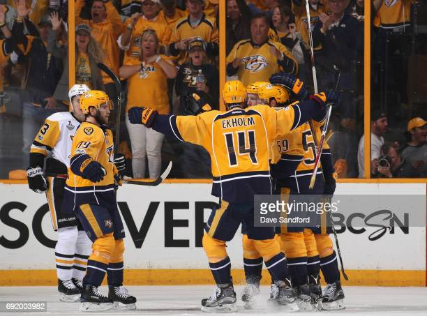 Roman Josi of the Nashville Predators celebrates his goal with teammates during the second period of Game Three of the 2017 NHL Stanley Cup Final...