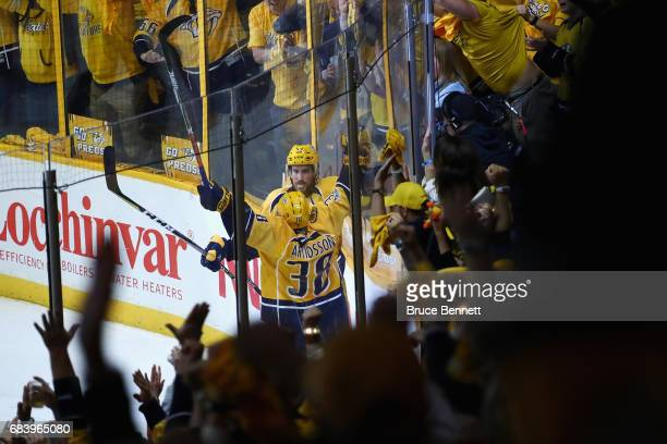 Roman Josi of the Nashville Predators celebrates with Viktor Arvidsson after scoring a goal against John Gibson of the Anaheim Ducks during the third...