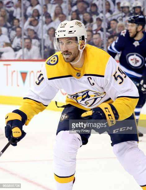 Roman Josi of the Nashville Predators keeps an eye on the play during first period action against the Winnipeg Jets in Game Four of the Western...
