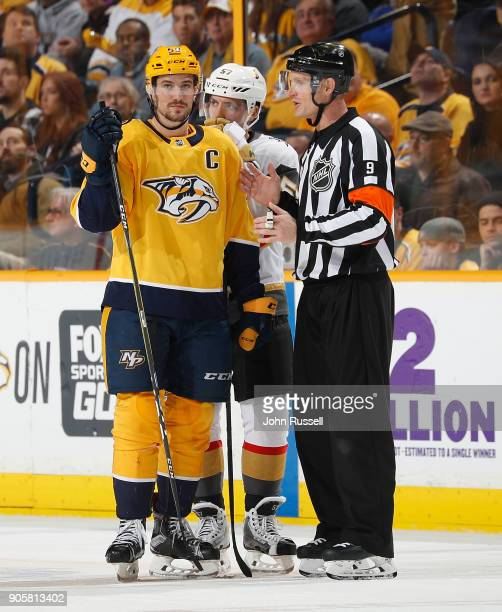 Roman Josi of the Nashville Predators listens to the explanation of an icing call from referee Dan O'Rourke during an NHL game against the Vegas...
