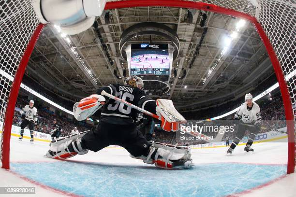 Roman Josi of the Nashville Predators scores a goal on John Gibson of the Anaheim Ducks during the 2019 Honda NHL AllStar Game at SAP Center on...