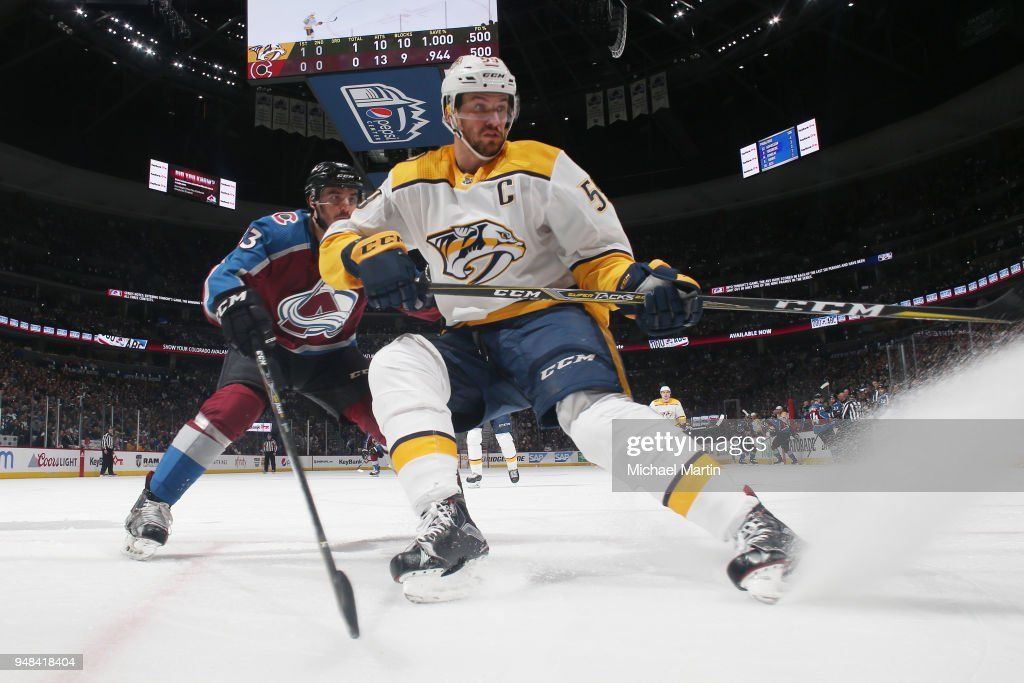 Roman Josi #59 of the Nashville Predators skates against Matt Nieto #83 of the Colorado Avalanche in Game Four of the Western Conference First Round during the 2018 NHL Stanley Cup Playoffs at the Pepsi Center on April 18, 2018 in Denver, Colorado. The Predators defeated the Avalanche 3-2.