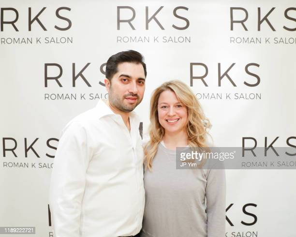 Roman K Salon owner Roman Kusayev and guest attend the Roman K Salon Madison Avenue Opening on November 21 2019 in New York City