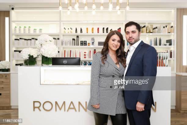Roman K Salon owners Rachel Shimanova and Roman Kusayev attend the Roman K Salon Madison Avenue Opening on November 21 2019 in New York City