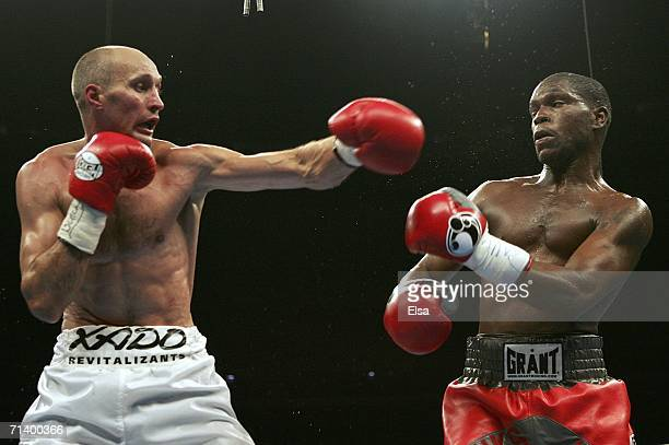 Roman Karmazin throws a punch at Cory Spinks during their IBF junior middleweight title bout on July 8, 2006 at the Savvis Center in St. Louis,...