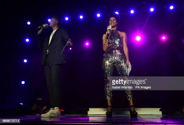 Roman Kemp and Vick Hope on stage during day two of Capital's Jingle Bell Ball with CocaCola at London's O2 Arena PRESS ASSOCIATION Photo Picture...
