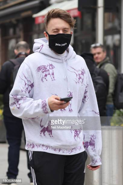 Roman Kemp leaving Capital Radio Studios on March 03, 2021 in London, England.
