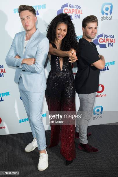 Roman Kemp Vick Hope and Sonny Jay attend the Capital Summertime Ball 2018 at Wembley Stadium on June 9 2018 in London England