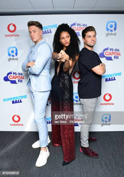 Roman Kemp Vick Hope and Sonny Jay on the red carpet of the media run at Capital's Summertime Ball with Vodafone at Wembley Stadium London PRESS...
