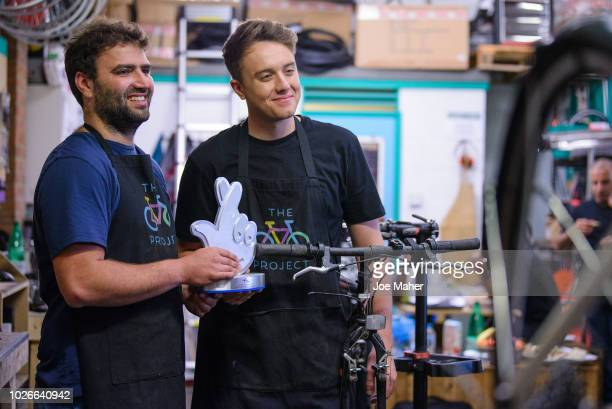 Roman Kemp visits The Bike Project on September 4 2018 in London England 'The Bike Project' is one of 49 finalists through to the public voting round...