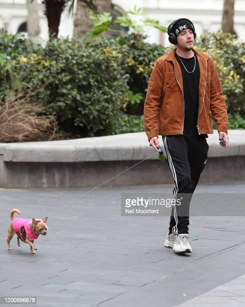 Roman Kemp walking his dog outside the Global Radio studios on January 20, 2020 in London, England.