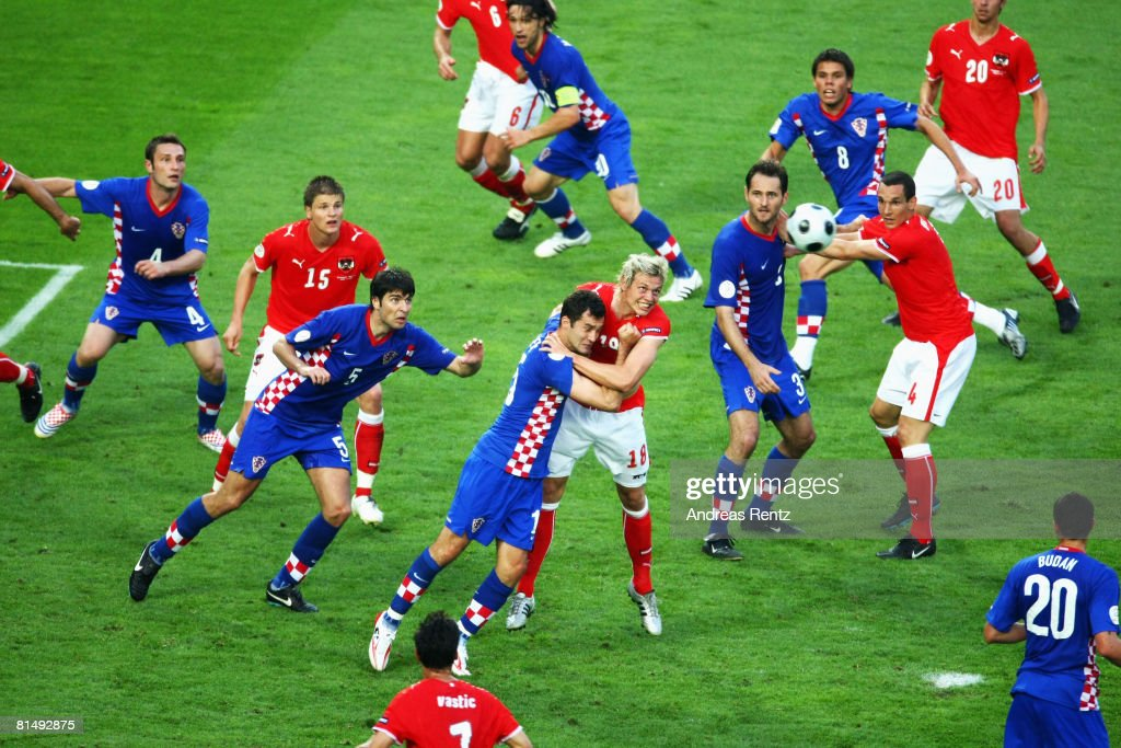 Roman Kienast (#18) of Austria wins a header against Dario Knezevic of Croatia during the UEFA EURO 2008 Group B match between Austria and Croatia at Ernst Happel Stadion on June 8, 2008 in Vienna, Austria.