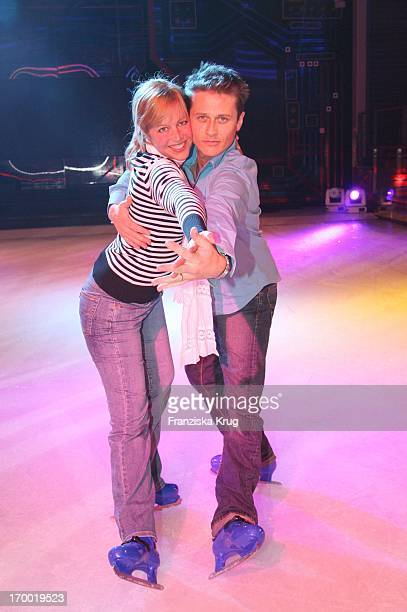 Roman Knizka And girlfriend Stefanie Mensing On Ice skating on the Freedom Of The Seas In Hamburg port 240406