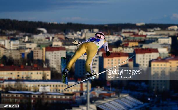 Roman Koudelka of Czech Republic competes during the Men's Team Ski Jumping HS130 at the FIS Nordic World Ski Championships on March 4, 2017 in...