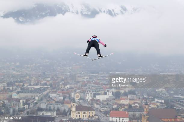 Roman Koudelka of Czech Republic jumps during the trial round of the HS130 men's ski jumping Competition of the FIS Nordic World Ski Championships at...