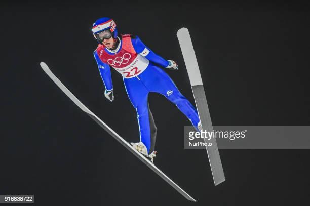 Roman Koudelka ofCzech Republic at mens normal hill final at 2018 Pyeongchang winter olympics at Alpensia Ski Jumping Centre Pyeongchang South Korea...