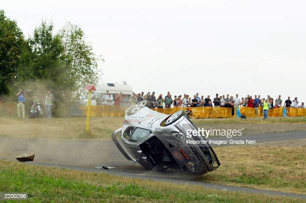 Roman Kresta crashes his Peugeot 206 during the WRC Shakedown on July 24 2003 in Germany
