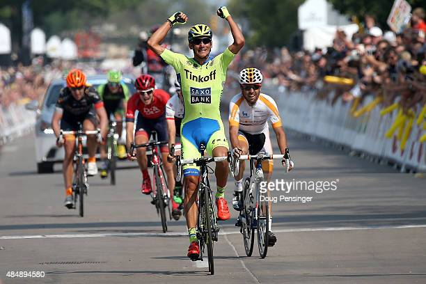 Roman Kreuziger of Czech Republic riding for Tinkoff-Saxo celebrates as he wins stage six of the 2015 USA Pro Challenge from Loveland to Fort Collins...