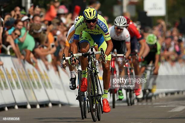 Roman Kreuziger of Czech Republic riding for TinkoffSaxo crosses the finish line to win stage six from Loveland to Fort Collins of the 2015 USA Pro...
