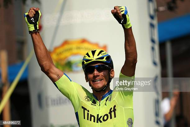 Roman Kreuziger of Czech Republic riding for Tinkoff-Saxo crosses the finish line to win stage six from Loveland to Fort Collins of the 2015 USA Pro...