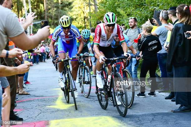 Roman Kreuziger of Czech Republic / Rui Costa of Portugal / Fans / Public / during the Men Elite Road Race a 2585km race from Kufstein to Innsbruck...