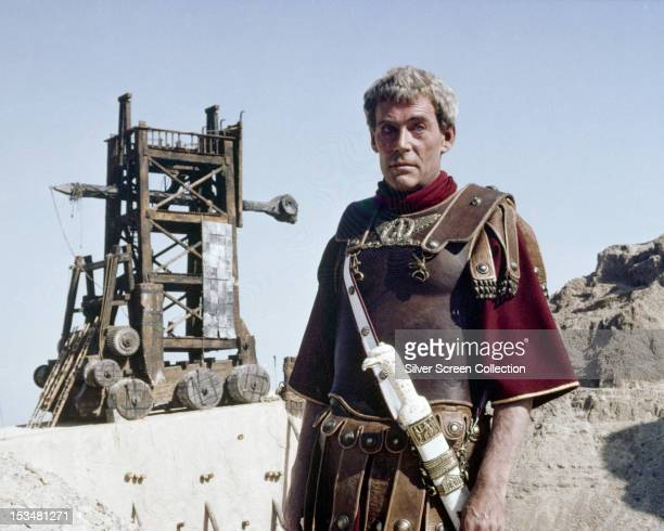 Roman legion commander Lucius Flavius Silva played by English actor Peter O'Toole standing by a siege engine in the TV miniseries 'Masada' directed...