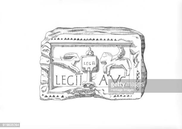 Roman legionary emblem circa 1985circa 1989 Illustration depicting a carved plaque found at Benwell Roman Fort on Hadrian's Wall showing the emblem...