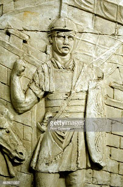 Roman legionary on sentry duty from Trajan's column Rome 106113 The column was erected by the Emperor Trajan and carved in low relief with a...