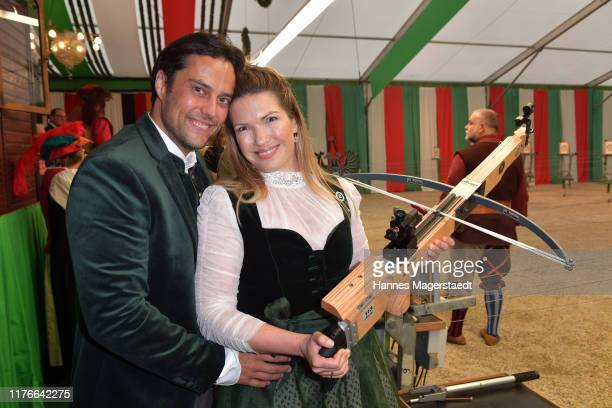 Roman Libbertz and his wife Jessica Libbertz during the BMW Armbrustschiessen as part of the Oktoberfest 2019 at Armbrust-Schuetzenfesthalle at...