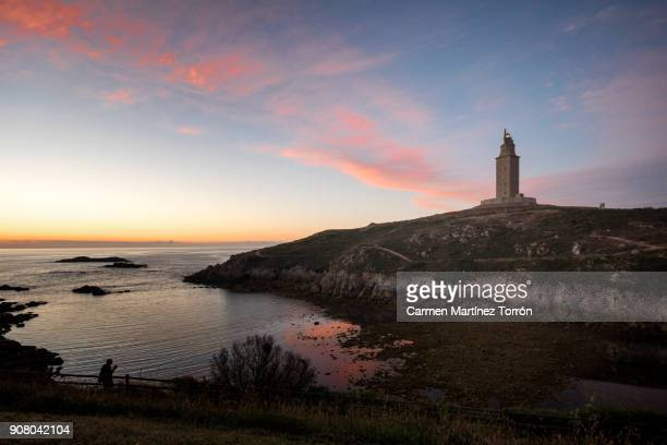 roman lighthouse: tower of hercules, a coruña. spain. - hercules stock pictures, royalty-free photos & images