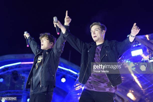 Roman Lochmann and Heiko Lochmann of Die Lochis during the 'Tag der Deutschen Einheit' festival at Brandenburger Tor on October 2 2017 in Berlin...