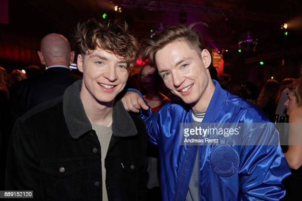 Roman Lochmann and Heiko Lochmann of 'Die Lochis' pose at the after party of the 1Live Krone radio award at Jahrhunderthalle on December 07 2017 in...