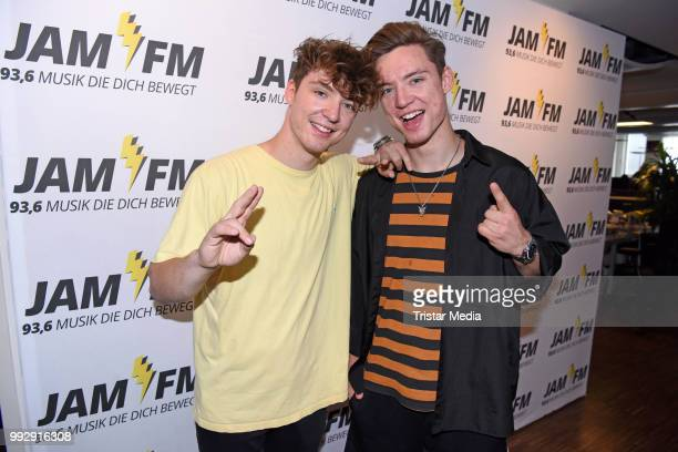Roman Lochmann and Heiko Lochmann of Die Lochis pose before their JAM FM radio concert at JAM FM radio station at Kurfuerstendamm on July 6 2018 in...