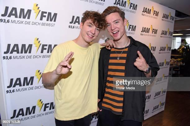 Roman Lochmann and Heiko Lochmann of Die Lochis pose before their JAM FM radio concert at JAM FM radio station at Kurfuerstendamm on July 6, 2018 in...