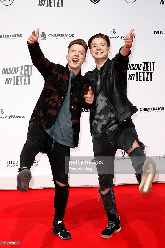 Roman Lochmann and Heiko Lochmann of the band Die Lochis attend the german premiere 'Unsere Zeit ist jetzt' at CineStar on September 27, 2016 in Berlin, Germany.