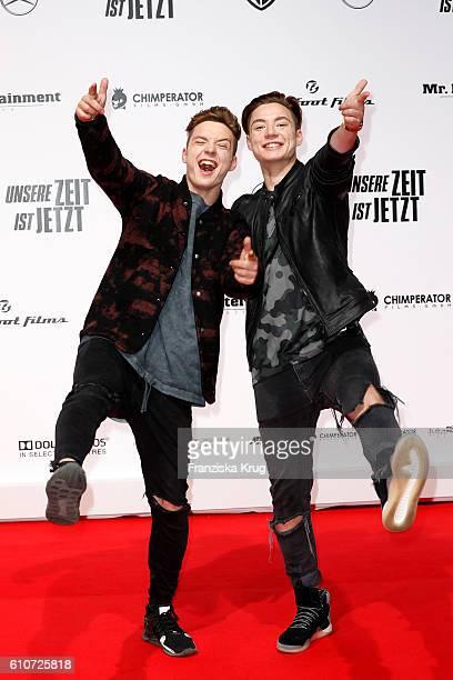 Roman Lochmann and Heiko Lochmann of the band Die Lochis attend the german premiere 'Unsere Zeit ist jetzt' at CineStar on September 27, 2016 in...