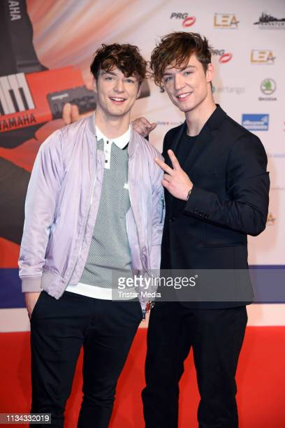 Roman Lochmann and Heiko Lochmann of the duo Die Lochis attend the PRG LEA Live Entertainment Award 2019 at Festhalle on April 1 2019 in Frankfurt am...