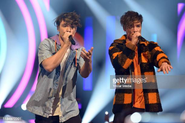 Roman Lochmann and Heiko Lochmann of the duo Die Lochis perform the Nickelodeon Kids Choice Awards on April 4 2019 in Rust Germany