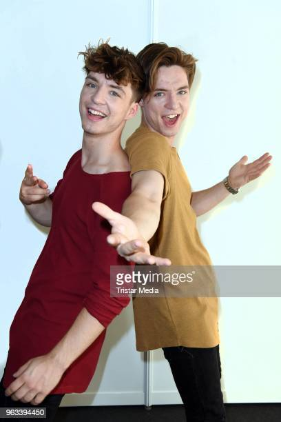 Roman Lochmann and Heiko Lochmann of the duo Die Lochis pose backstage during the Hessentag 2018 on May 28, 2018 in Korbach, Germany.