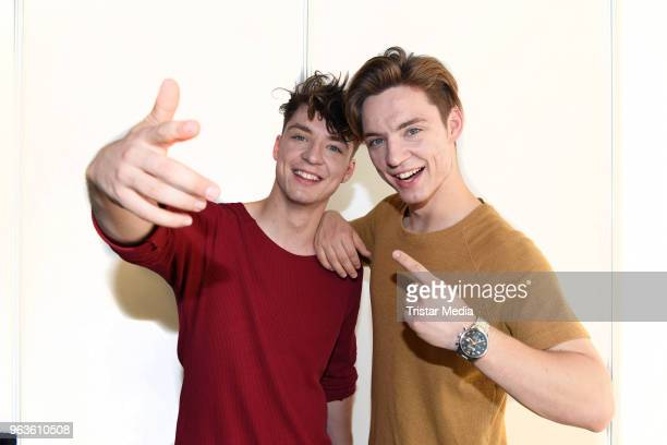 Roman Lochmann and Heiko Lochmann of the duo Die Lochis pose backstage during the Hessentag 2018 on May 28 2018 in Korbach Germany