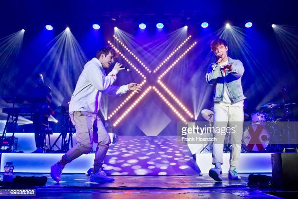 Roman Lochmann and Heiko Lochmann of the German duo Die Lochis perform live on stage during a concert at the Columbiahalle on September 19 2019 in...
