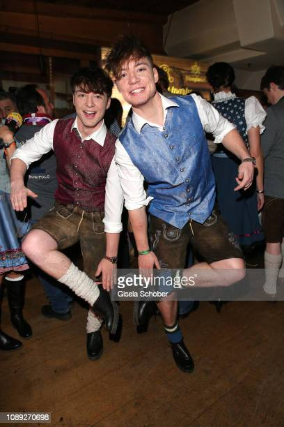 """Roman Lochmann and his twin brother Heiko Lochmann """"Die Lochis"""" during the 28th Weisswurstparty at Hotel Stanglwirt on January 25, 2019 in Going near..."""