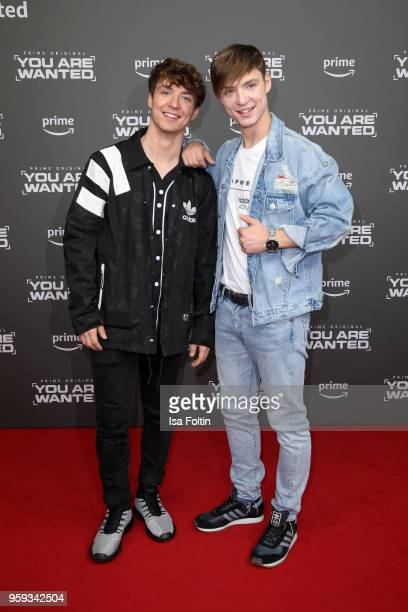 Roman Lochmann and his twin Heiko Lochmann alias 'Die Lochis' attend the premiere of the second season of 'You are wanted' at Filmtheater am...