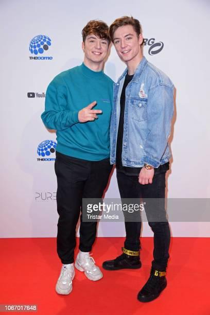 Roman Lochmann, Heiko Lochmann of the duo Die Lochis arrive at The Dome 2018 music show on November 30, 2018 in Oberhausen , Germany.