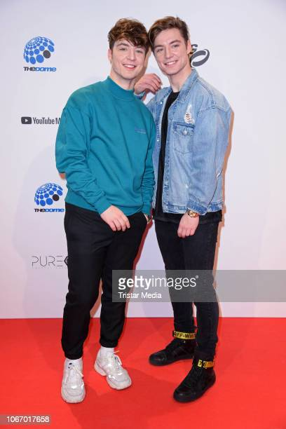 Roman Lochmann Heiko Lochmann of the duo Die Lochis arrive at The Dome 2018 music show on November 30 2018 in Oberhausen Germany