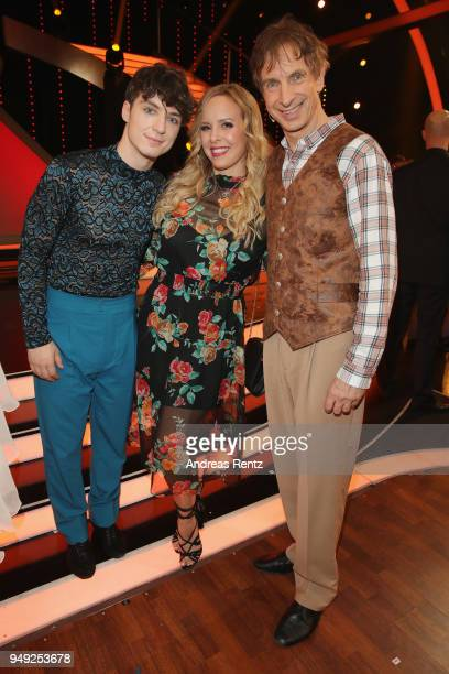 Roman Lochmann, Isabel Edvardsson and Ingolf Lueck smiles during the 5th show of the 11th season of the television competition 'Let's Dance' on April...