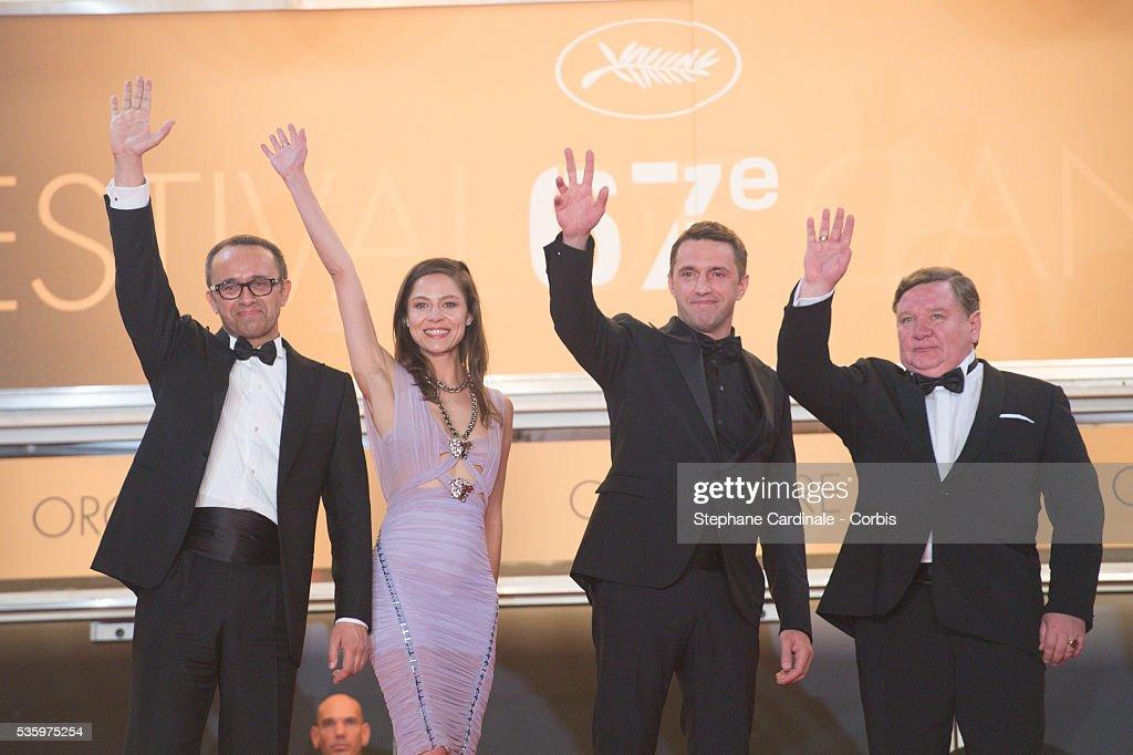 Roman Madyanov, Aleksey Serebryakov, Vladimir Vdovichenkov,Yelena Lyadova and Andrey Zvyagintsev at the 'Leviathan' premiere during the 67th Annual Cannes Film Festival