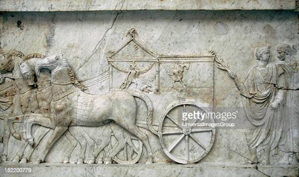 ART Roman marble relief from a conmmemorative monument to the Battle of Actium Detail of a processional scene Museum of Fine Arts Budapest Hungary